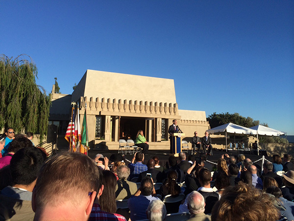 Mayor Eric Garcetti speaking at the grand reopening of the Hollyhock House, February 13, 2015. Photo: Lily Spitz