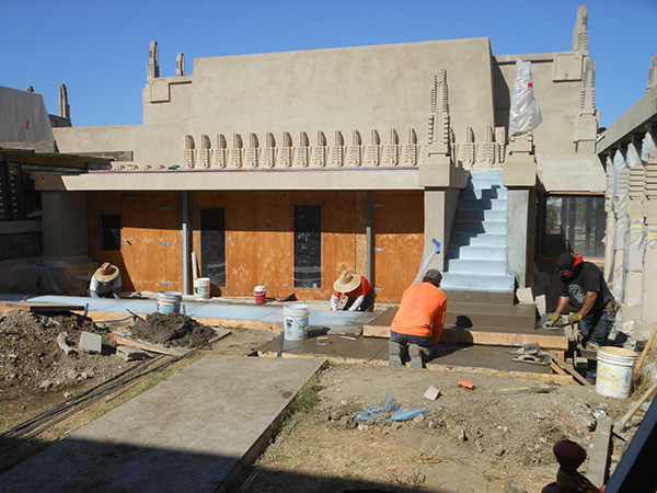 Hollyhock receiving fresh concrete in September 2013. Photo: Project Restore