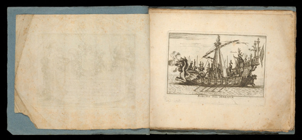 This bound suite of prints includes a title leaf and 18 etchings depicting a mock naval battle performed on the Arno River in Florence on November 3, 1608, in celebration of the wedding of Cosimo II, Duke of Tuscany, to Maria Maddalena of Austria.