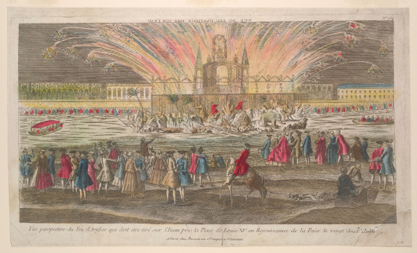 This print shows the design for a fireworks display that was scheduled to take place on June 22, 1763, near the Place Louis XV in Paris; the event was in celebration of the treaties marking the end of the Seven Years' War. The display features a façade elevated on a rocky island on the Seine and topped with an equestrian statue placed under a slender arch. Palm trees, exotic animals, putti, and allegorical figures appear among the rocks, while spectators are gathered on the shore.