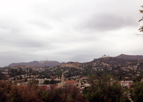 View of the Hollywood Sign (left) and Griffith Observatory (right) from the Hollyhock House