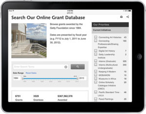 Screencap of the Getty Foundation's new grant database. Courtesy of the Getty Foundation