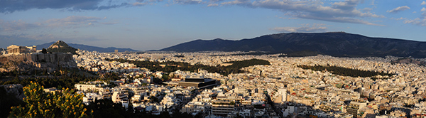 View from Mouseion Hill in Athens, looking towards the Acropolis and Mt. Hymettos