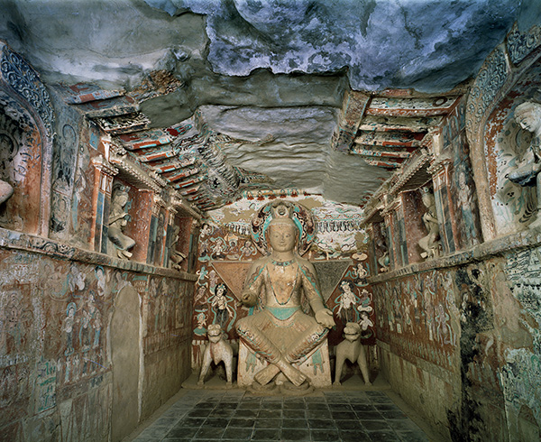 Interior and sculpture of a bodhisattva in Cave 275