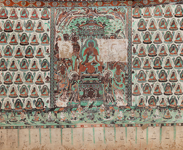 South wall of Cave 320, depiction of the Aparimitāyus Sutra