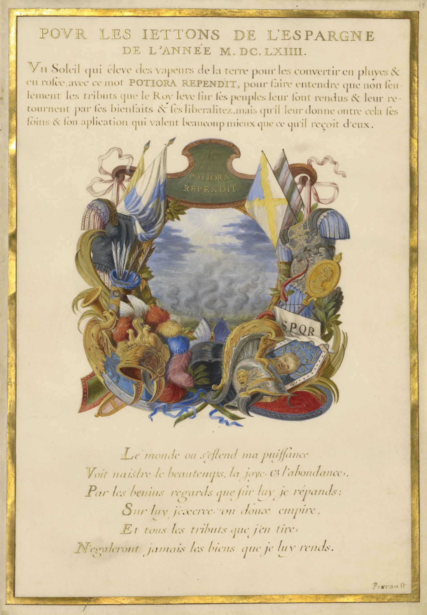 Escutcheon with a Landscape (detail) from Emblems for Louis XIV (text in French and Latin by Charles Perrault), Jacques Bailly, about 1663-1668. The J. Paul Getty Museum, Ms. 11, leaf 9