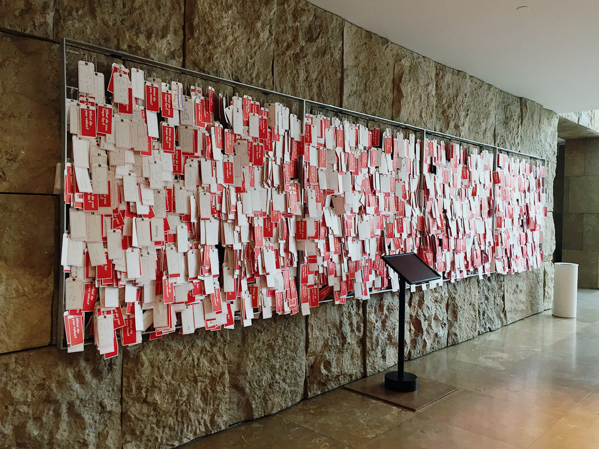 Thousands of tags hang in the museum entrance hall