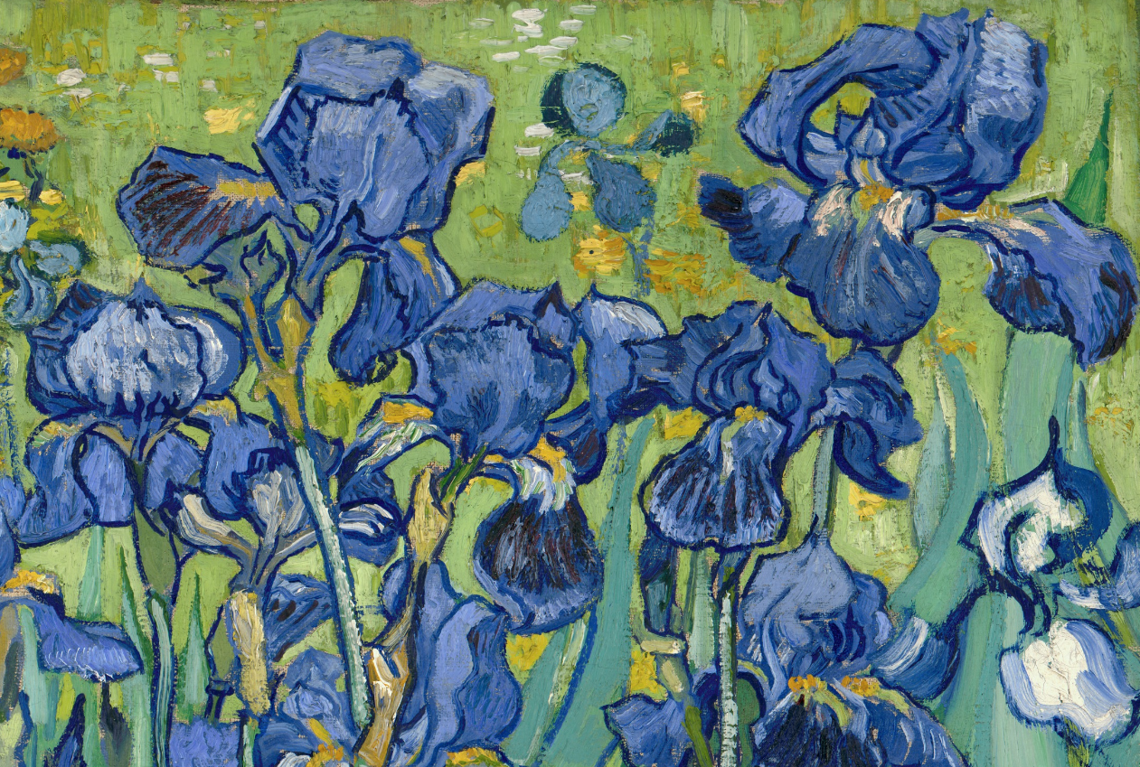 Detail of Irises, 1989, Vincent van Gogh. Oil on canvas, 29 1/4 x 37 1/8 in. The J. Paul Getty Museum.