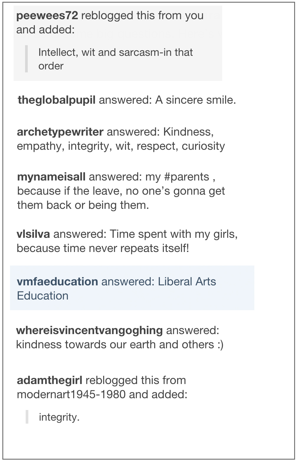 """Tumblr responses to """"What do you value?"""""""