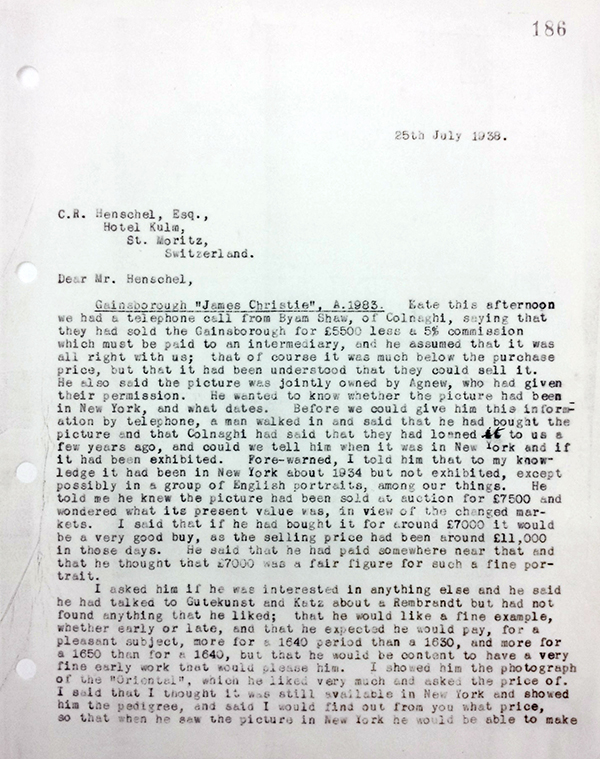 Letter from Cunningham to Henschel