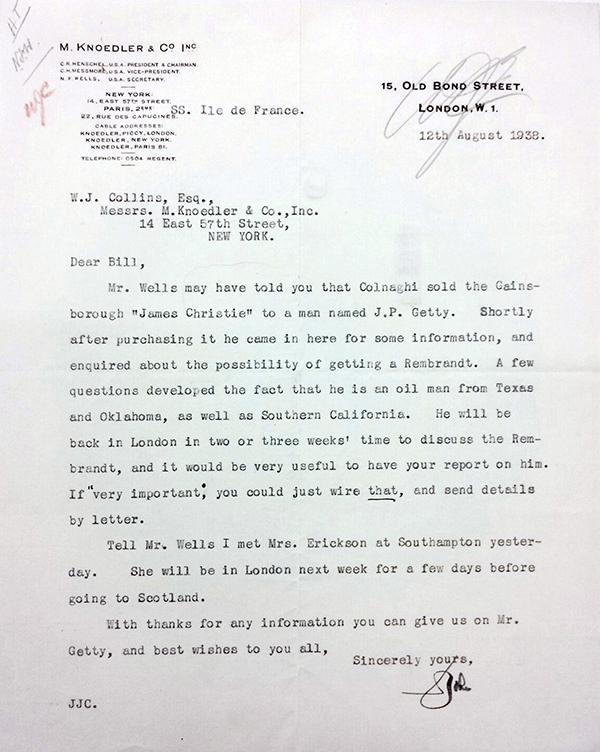 Letter from Cunningham to Collins