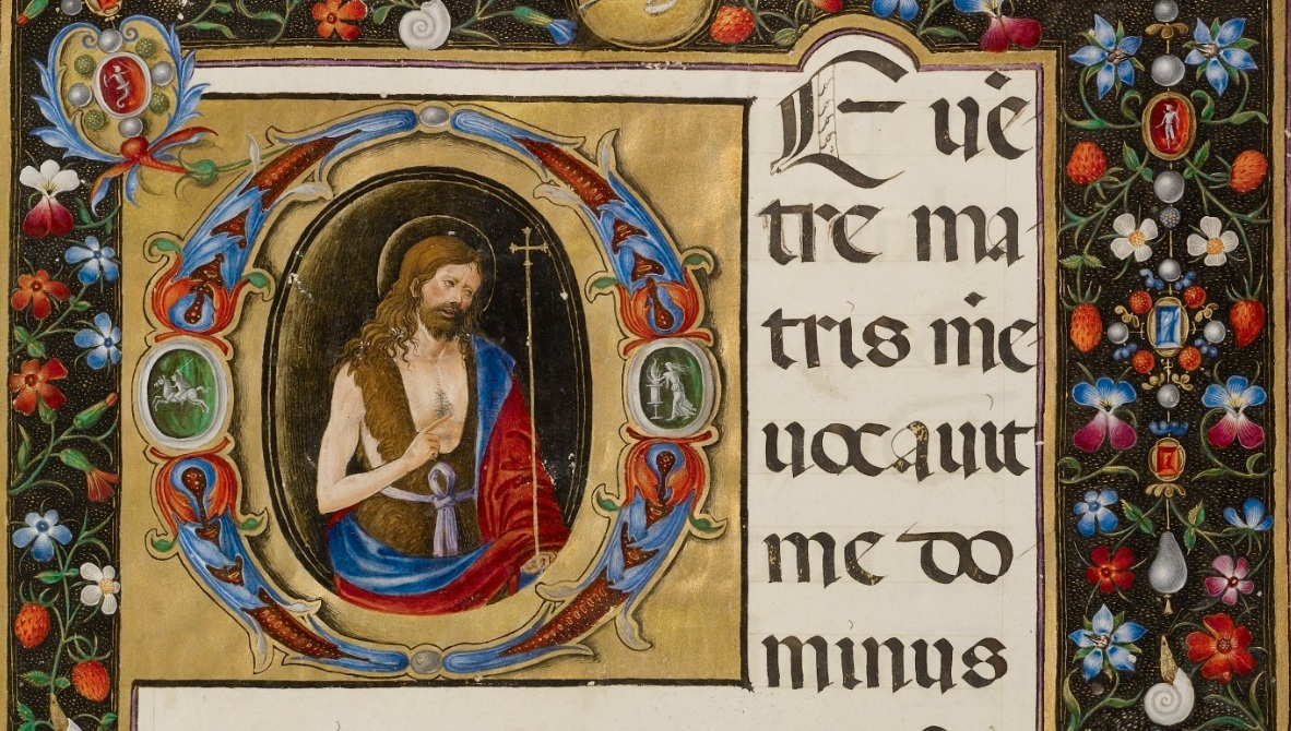 Initial D: Saint John the Baptist, Matteo da Milano, about 1520. The J. Paul Getty Museum, Ms. 87, fol. 4