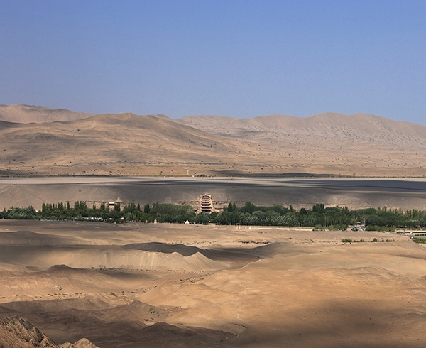 Landscape view of the cave temples of Dunhuang