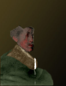 Tentative color reconstruction of the hidden portrait under An Old Man in Military Costume