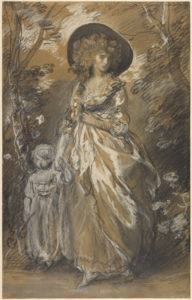 A Lady Walking in a Garden with a Child / Gainsborough