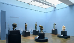 """Installation view of """"Power and Pathos: Bronze Sculpture,"""" at the Getty Museum in 2015."""