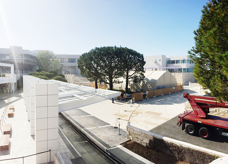 Replica Buddhist Caves Rise on the Getty Center Plaza