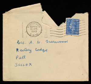 Envelope containing a letter from Lawrence Alloway to Sylvia Sleigh, February 2, 1948