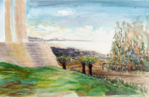 Getty Center Central Garden, watercolor. Courtesy of and © Tayen Kim