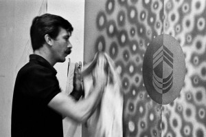 Billy Al Bengston polishing an artwork