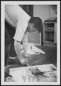Ed Moses painting on the floor
